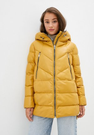 Куртка кожаная Снежная Королева. Цвет: желтый