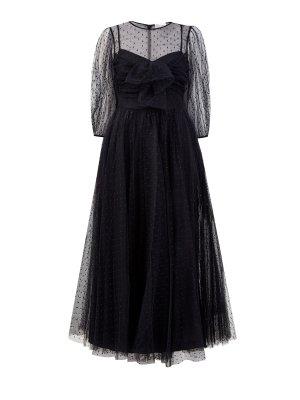 Вечернее платье из тюля «пуэн-деспри» REDVALENTINO. Цвет: черный