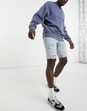 Узкие джинсовые шорты в винтажном стиле с рваной отделкой голубого выбеленного цвета -Голубой ASOS DESIGN