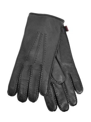 Перчатки из кожи наппа с декоративной прострочкой MORESCHI. Цвет: синий