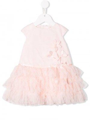 Платье с подолом из тюля Bimbalo. Цвет: розовый