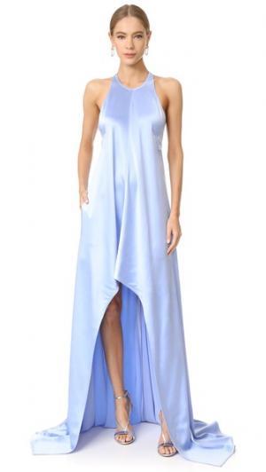Ассиметричное вечернее платье KAUFMANFRANCO. Цвет: небесный