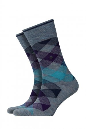 Меланжевые серые носки из трикотажа Burlington. Цвет: синий