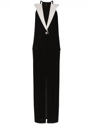 Contrast-lapel sleeveless dress Balmain. Цвет: черный