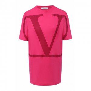 Хлопковая футболка Valentino. Цвет: розовый