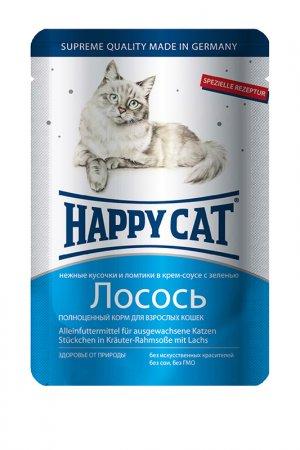 Паучи: лосось 0,1 кг 22 шт HAPPY CAT. Цвет: белый