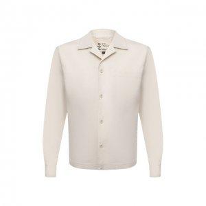 Хлопковая рубашка Aspesi. Цвет: бежевый