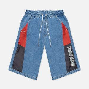 Женские шорты Colour-Blocked Panels Baggy Denim Tommy Jeans. Цвет: синий