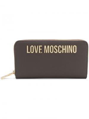 Кошелек с бляшкой логотипом Love Moschino. Цвет: коричневый