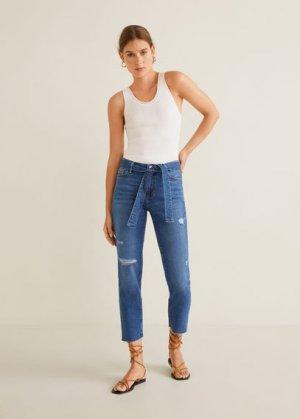 Прямые джинсы с ремнем - Soft Mango. Цвет: синий средний