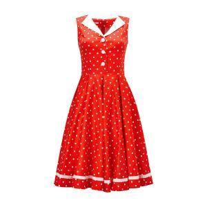 Платье расклешенное в горошек с рубашечным воротником JOE BROWNS. Цвет: красный/ белый