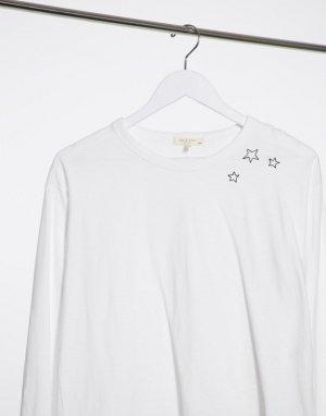 Белый укороченный лонгслив с принтом в виде звезд rag & bone