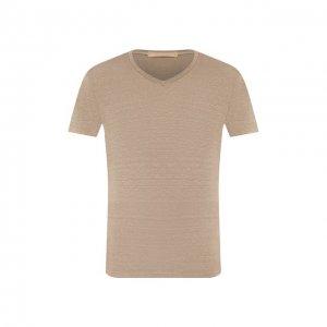 Льняная футболка Daniele Fiesoli. Цвет: бежевый
