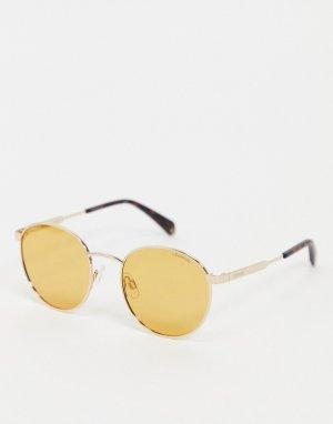 Солнцезащитные очки в стиле унисекс с круглыми линзами -Желтый Polaroid