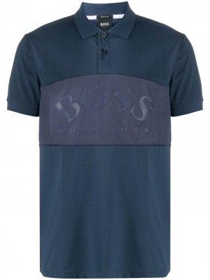 Рубашка поло с сетчатой вставкой и логотипом BOSS. Цвет: синий