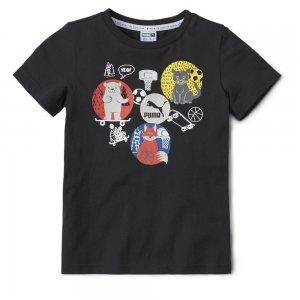 Детская футболка Animals Suede Tee PUMA. Цвет: черный