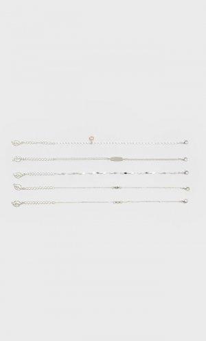 Набор Из 5 Браслетов Женская Коллекция Серый 103 Stradivarius. Цвет: серый