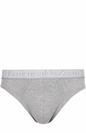 Комплект из двух хлопковых брифов с широкой резинкой Ermenegildo Zegna. Цвет: серый