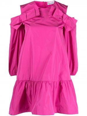 Платье с открытыми плечами и оборками RED Valentino. Цвет: розовый