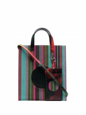 Полосатая сумка для iPad из коллаборации с Kennet Ize Karl Lagerfeld. Цвет: розовый
