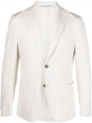 Однобортный пиджак в полоску Eleventy. Цвет: нейтральные цвета