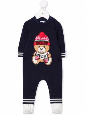 Пижама Teddy Bear с длинными рукавами Moschino Kids. Цвет: синий