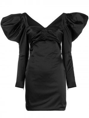 Приталенное платье с пышными рукавами House of Holland. Цвет: черный