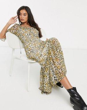 Платье макси с овальным вырезом и леопардовым принтом -Мульти ASOS DESIGN