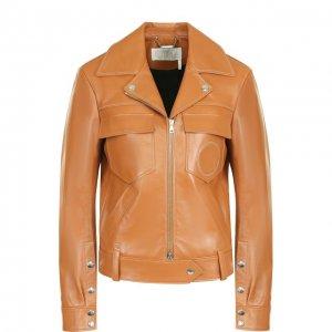Кожаная куртка с поясом и накладными карманами Chloé. Цвет: коричневый