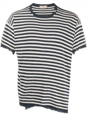 Полосатая футболка с эффектом потертости Maison Flaneur. Цвет: синий
