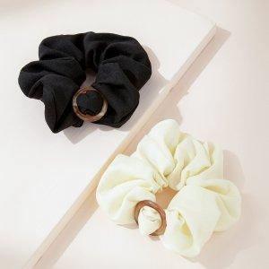 2шт Простая плиссированная резинка для волос SHEIN. Цвет: черный и белый
