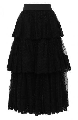 Многослойная юбка-миди Dolce & Gabbana. Цвет: черный