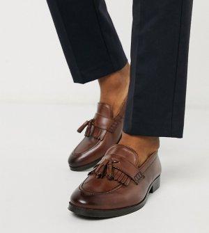 Коричневые кожаные лоферы для широкой стопы с кисточками и бахромой -Коричневый ASOS DESIGN
