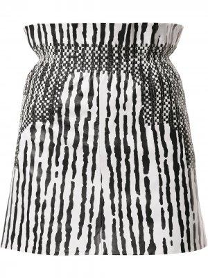 Юбка в полоску с завышенной талией Balenciaga Pre-Owned. Цвет: черный