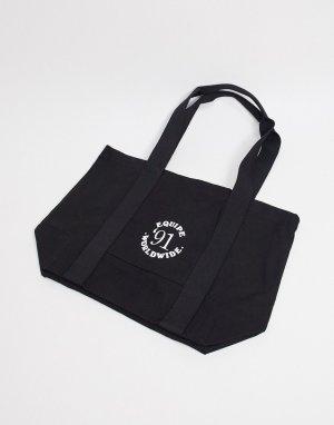 Большая черная сумка-тоут из плотной ткани со спортивным логотипом в стиле ретро -Зеленый ASOS DESIGN