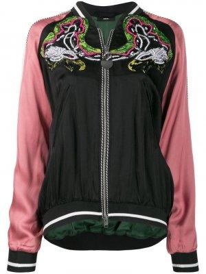 Декорированная атласная куртка-бомбер Diesel. Цвет: черный