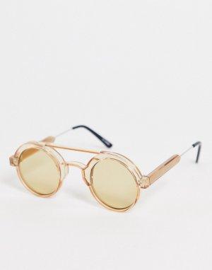 Круглые солнцезащитные очки в коричневой оправе с планкой сверху стиле унисекс Ambient-Коричневый цвет Spitfire