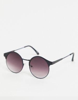 Круглые солнцезащитные очки с дымчатыми стеклами в черной матовой металлической оправе -Черный цвет ASOS DESIGN