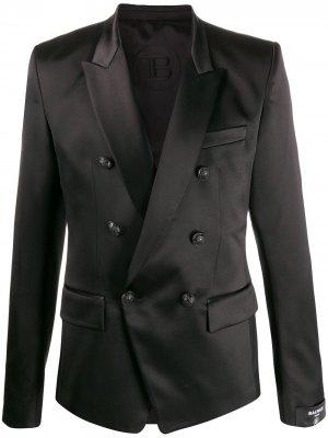 Двубортный пиджак Balmain. Цвет: черный