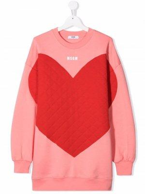 TEEN heart-print crew neck sweater dress MSGM Kids. Цвет: розовый
