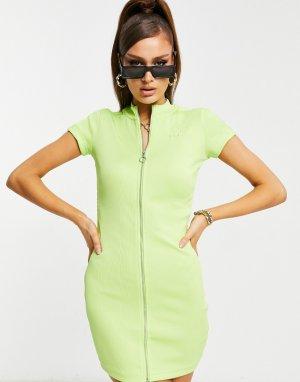 Зеленое облегающее платье в рубчик с короткими рукавами PUMA Classics-Зеленый цвет
