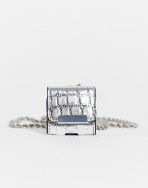 Чехол для наушников серебристого цвета с фактурой под крокодила и цепочкой -Серебряный Miss Selfridge