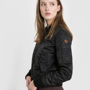 Куртка-бомбер сатиновый SCHOTT. Цвет: черный