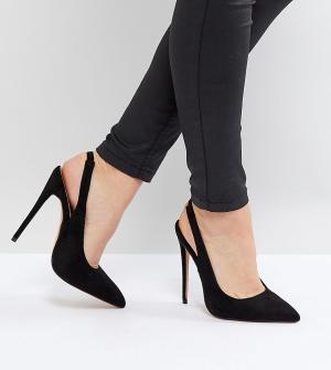 Туфли-лодочки для широкой стопы с ремешком через задник Lost Ink Wide Fit. Цвет: черный