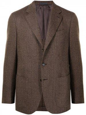 Однобортный шерстяной пиджак Tosca Caruso. Цвет: коричневый