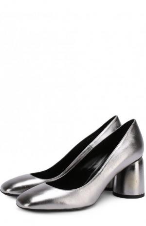 Туфли из металлизированной кожи на фигурном каблуке Baldan. Цвет: серебряный