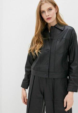Куртка кожаная Topshop Boutique. Цвет: черный
