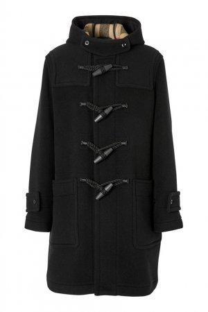 Черный шерстяной дафлкот Burberry. Цвет: черный
