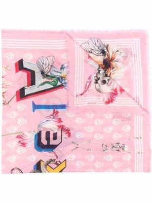 Skull-print logo scarf Alexander McQueen. Цвет: розовый