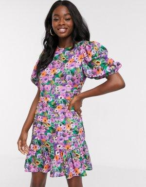 Короткое приталенное ярусное платье с цветочным принтом -Мульти Never Fully Dressed